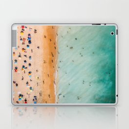 People On Algarve Beach In Portugal, Drone Photography, Aerial Photo, Ocean Wall Art Print Laptop & iPad Skin