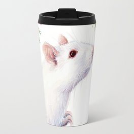 White Rat with Flowers Watercolor Floral Pattern Animal Travel Mug