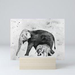 Family of elephants, black and white Mini Art Print