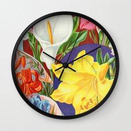 VINTAGE FLOWERS ILLUSTRATION Wall Clock
