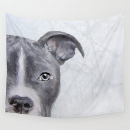 pit bull silver grey tone Wall Tapestry