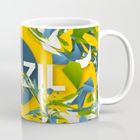 brazil Mugs featuring Abstract Brazil by Danny Ivan