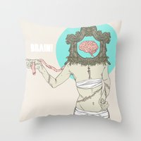 brain Throw Pillows featuring Brain ! by UNCOMMON Graphic Design