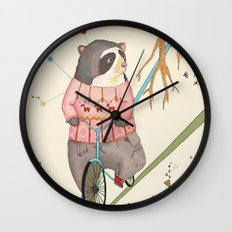 Bear in bicycle Wall Clock
