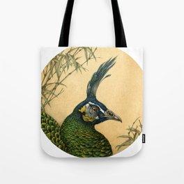 Green Peafowl Head Tote Bag