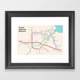 Toledo Highways Subway Map Framed Art Print