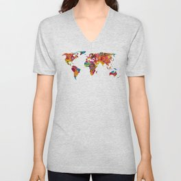 Map of The World 2 -Colorful Abstract Art Unisex V-Neck