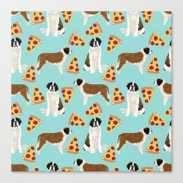 Saint Bernard pizza slices funny cute dog gifts for dog lover unique dog breeds Canvas Print