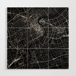 Shanghai Black Map Wood Wall Art