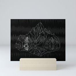 Mountains Lines and Bear Mini Art Print