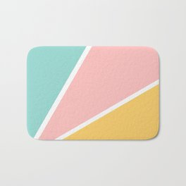 Tropical summer pastel pink turquoise yellow color block geometric pattern Bath Mat