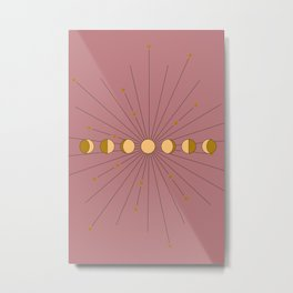 Moon Phases in gold with a starburst and dusty rose background Metal Print