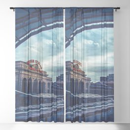 Union Station // Downtown Denver Travel & Train Station Retro Red Sign City Scape Photography Sheer Curtain