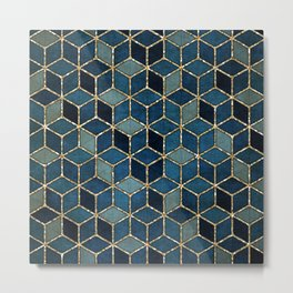 Shades Of Turquoise Green & Blue Cubes Pattern Metal Print