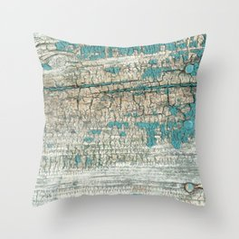 Rustic Wood Turquoise Weathered Paint Wood Grain Throw Pillow