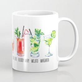 Cuba Libra - Bloody Mary - Mojito - Margarita - Four Cocktails - Watercolour Art - Colourful Print Coffee Mug