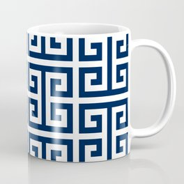 Dark Navy Blue and White Greek Key Pattern Coffee Mug