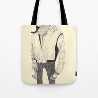 ryan gosling Tote Bags featuring Ryan Gosling by withapencilinhand