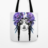skull Tote Bags featuring New Way Warrior by Ruben Ireland