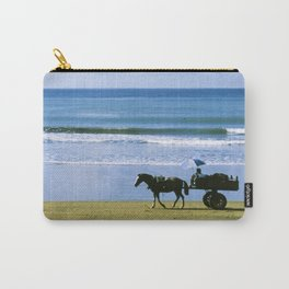 Costa Rica: Horse-Drawn Wagon On Beach Carry-All Pouch