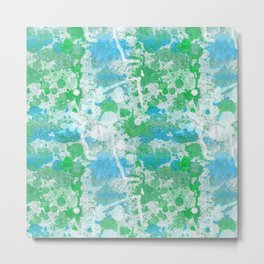 Abstract Paint Splatters Blue and Green Metal Print