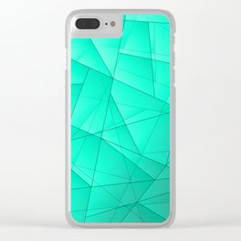 Glowing contrasting celestial fragments of crystals on triangles of irregular shape. Clear iPhone Case