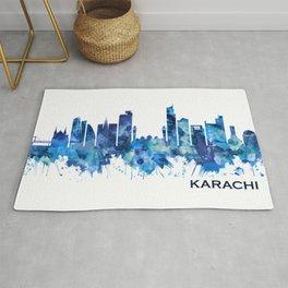 Karachi Skyline Pakistan Blue Rug