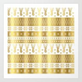 Nordic fair isle christmas pattern gold Art Print