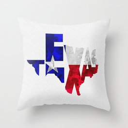Texas Typographic Flag Map Art Throw Pillow