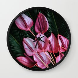 Anthurium and Sago Palm Wall Clock