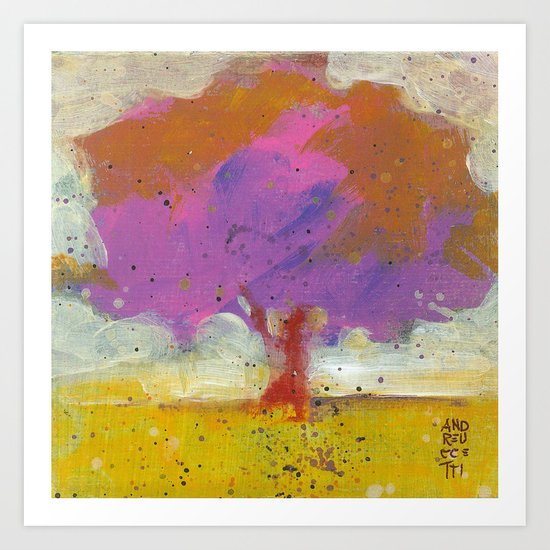 The tree with fucsia leaves Art Print
