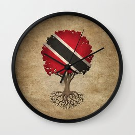 Vintage Tree of Life with Flag of Trinidad and Tobago Wall Clock