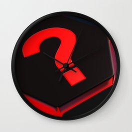 red question mark on hexagons - 3D rendering Wall Clock