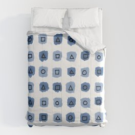 Abstract geometrical blue pattern Comforters