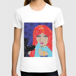 """Black Poodle"" Paulette Lust's Original, Contemporary, Whimsical, Colorful Art  T-shirt"