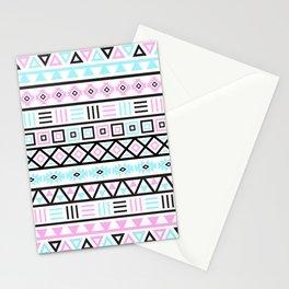 Aztec Influence Pattern Blue Black Pink White Stationery Cards