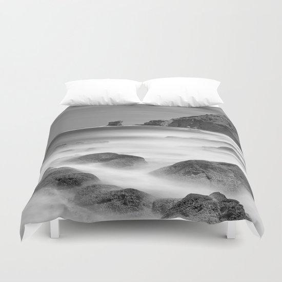 Water. Volcanic rocks. Monochrome Duvet Cover