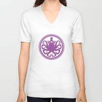 ursula V-neck T-shirts featuring Hail Ursula by Randy van der Vlag