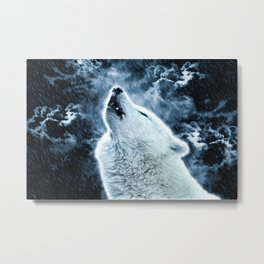 A howling wolf in the rain Metal Print