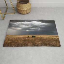 Life on the Plains - Cow Watches Over Playful Calf in Oklahoma Rug