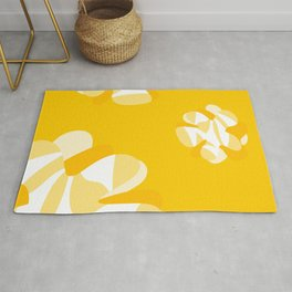 Abstract liquid melting yellow flowers 1 Rug