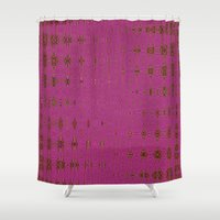 hot pink Shower Curtains featuring Hot Pink by Dorothy Pinder
