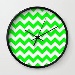 Chevron (Green/White) Wall Clock