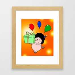 Birthday Pig Framed Art Print