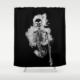 Smoking Skeleton Inverted Shower Curtain