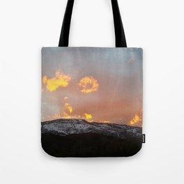 Firey mountains Tote Bag