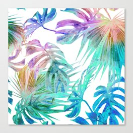 Simply Palm Leaves in Hologram Island Canvas Print