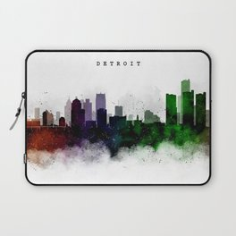 Detroit Watercolor Skyline Laptop Sleeve