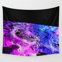 the moon Wall Tapestries featuring Purple Blue Galaxy Moon  by 2sweet4words Designs