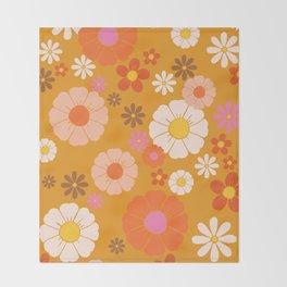 Groovy Mod 60's Flower Power Throw Blanket